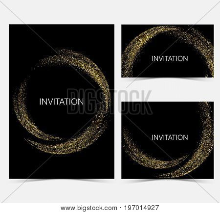 Template design invitations, greeting cards, greetings.Gold smooth wave in the form of a circle, gold glitters on a black background.