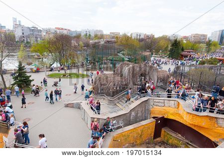 Moscow Russia-May 01: Moscow Zoo during the midday crowd of people go sightseeing on May 01 2017 in Moscow.