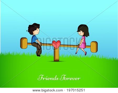 illustration of boy and girl playing seesaw with friends forever text on the occasion of friendship day