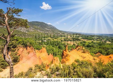 Orange and red picturesque hills in Roussillon.