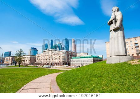 Moscow Russia-May 01 2017: Detail of the monument