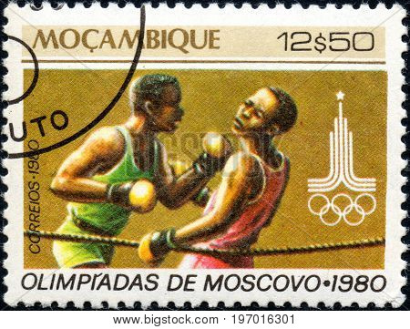 UKRAINE - CIRCA 2017: A postage stamp printed in Mozambique shows Boxing from series Summer Olympic Games 1980 Moscow circa 1980