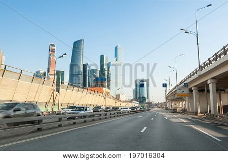 Moscow Russia-April 302017: The Third Ring Road with the Moscow International Business Centre on the background on April 302017. Moscow City is a commercial district in central Moscow Russia.
