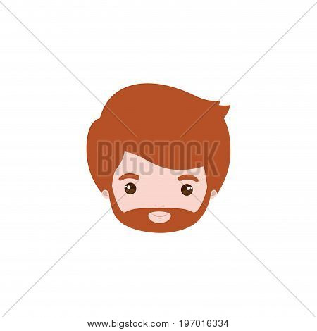 colorful caricature closeup front view face bearded man with redhair and moustache vector illustration