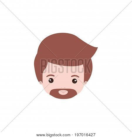 colorful caricature closeup front view face man with van dyke beard vector illustration