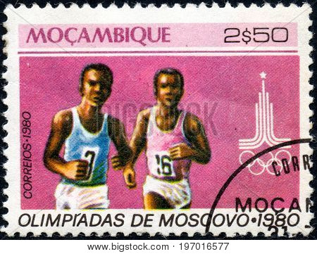 UKRAINE - CIRCA 2017: A postage stamp printed in Mozambique shows Running from series Summer Olympic Games 1980 Moscow circa 1980