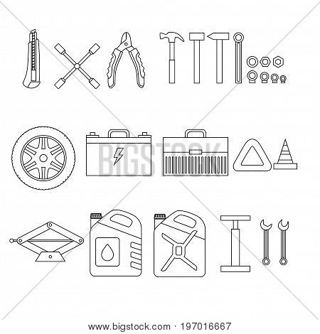 Outline design elements of Car service and diagnostic. Auto mechanic repair of machines. Mechanic Tools and equipment set