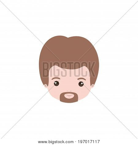 colorful caricature closeup front view face man with van dyke beard and light brown hair vector illustration