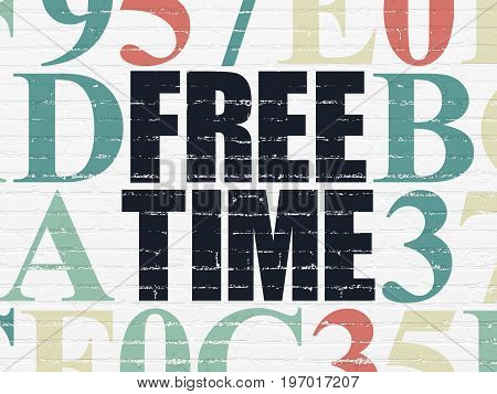 Time concept: Painted black text Free Time on White Brick wall background with Hexadecimal Code