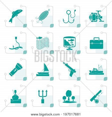 Stylized Fishing industry icons - vector icon set