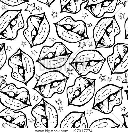 Sexy lips. Tongue out. Vector cute rock and roll abstract background. Hand drawn monochrome seamless pattern. Cartoon style.