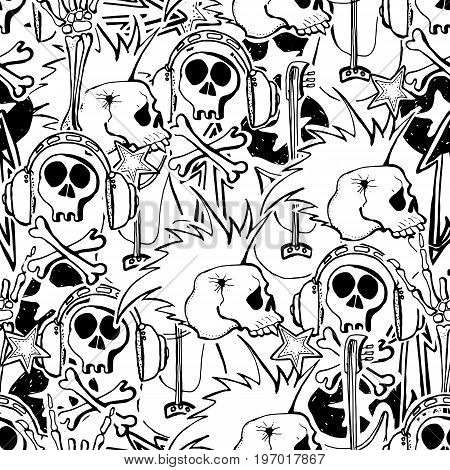 Vector cute rock and roll abstract background. Hand drawn seamless pattern. Cartoon style.Guitars pins palm hands.