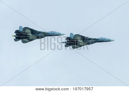 Moscow Region - July 21, 2017: New Russian fifth-generation fighters T-50 (Sukhoi PAK FA) at the International Aviation and Space Salon (MAKS) in Zhukovsky.
