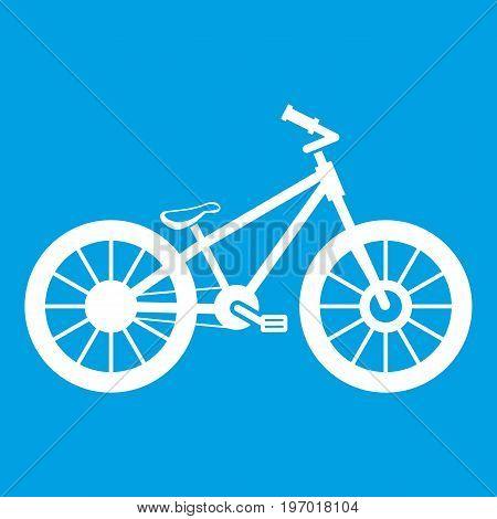 Bike icon white isolated on blue background vector illustration