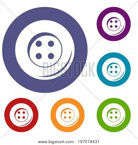Button for sewing icons set in flat circle red, blue and green color for web