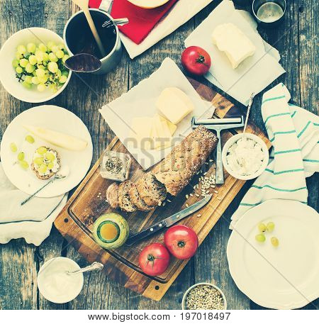 Preparation Sandwiches Snack for Eating on Wooden Table Top View Fresh Bread Tomatoes Cream and Cottage Cheese Seeds Vintage Style Kinfolk Toned