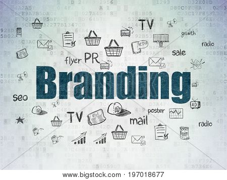 Advertising concept: Painted blue text Branding on Digital Data Paper background with  Hand Drawn Marketing Icons
