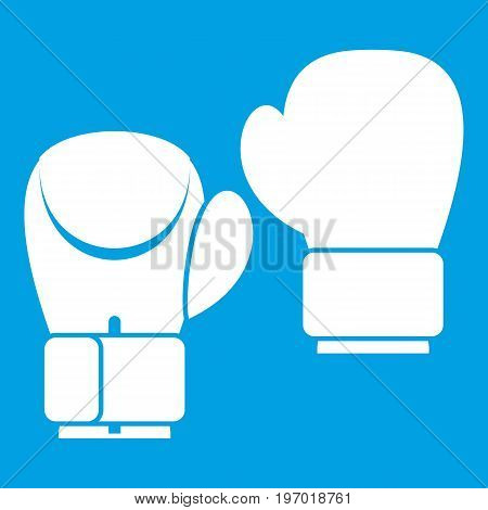 Boxing gloves icon white isolated on blue background vector illustration