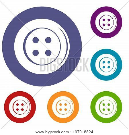 Sewing button icons set in flat circle red, blue and green color for web