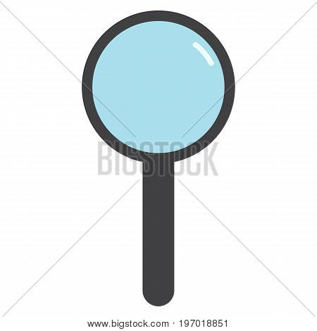 Stationery magnifying glass icon, vector illustration flat style design isolated on white. Colorful graphics