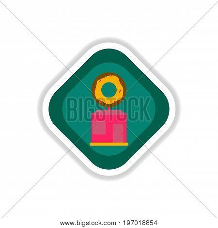 paper sticker on white background Donut shop