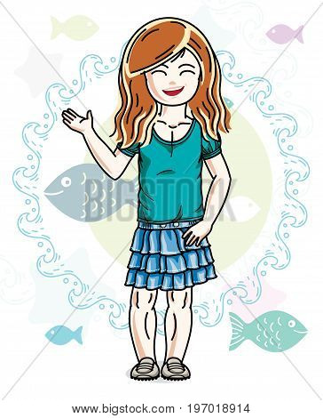 Little redhead girl toddler standing in fashionable casual clothes. Vector kid illustration. Sea fauna theme.