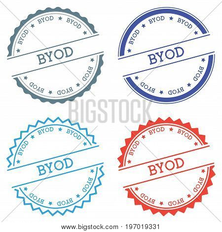 Byod Badge Isolated On White Background. Flat Style Round Label With Text. Circular Emblem Vector Il