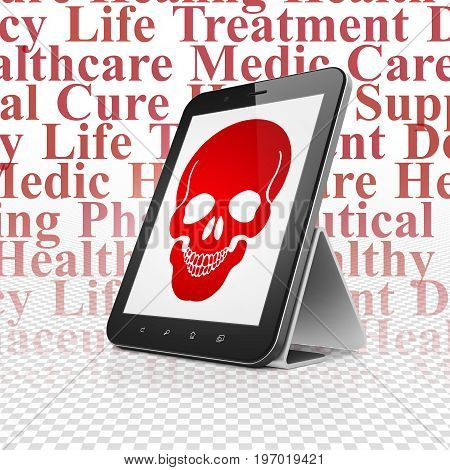 Healthcare concept: Tablet Computer with  red Scull icon on display,  Tag Cloud background, 3D rendering