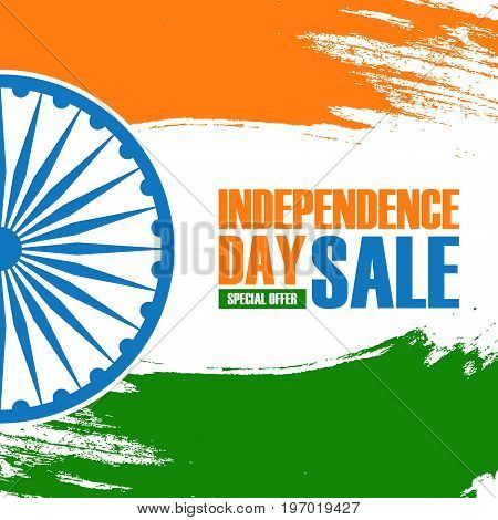 India Independence Day Holiday Sale banner. Special offer brush stroke background for business, promotion and advertising. Vector illustration.