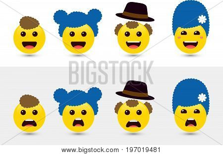 Funny expressing social media icons. Joyful and sad icons of friends with hair. Vector illustration of family of cute emoticons on light background. Set of volume yellow woman, man, kids emoji