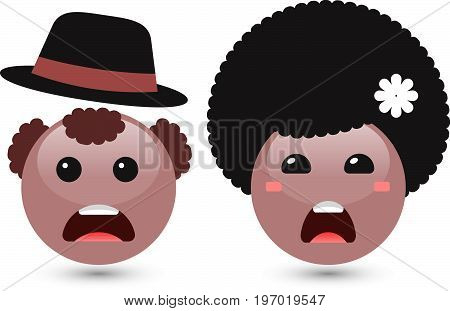 Vector illustration of two cute smiley brown emoticons on white background. Disappointed icons of man with hat and woman with dark hair. Funny expressing social smileys. Set of volume emoji