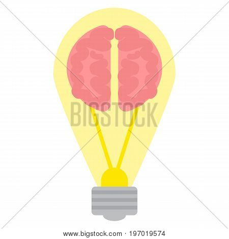 Brain Light bulb icon, vector illustration flat style design isolated on white. Colorful graphics