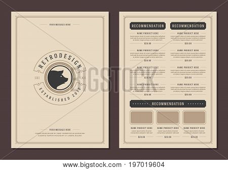 Restaurant logo and menu design vector brochure template. Pork head silhouette.