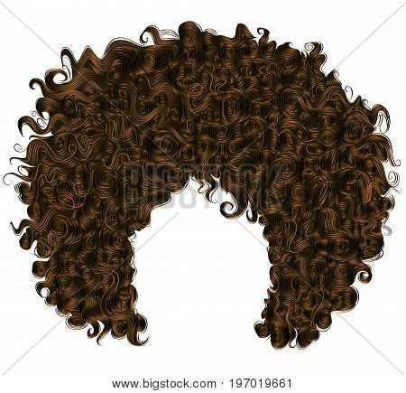 trendy curly dark brown  hair  . realistic  3d . spherical hairstyle . fashion beauty style .