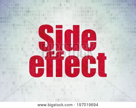 Healthcare concept: Painted red word Side Effect on Digital Data Paper background