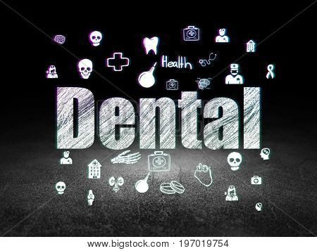 Health concept: Glowing text Dental,  Hand Drawn Medicine Icons in grunge dark room with Dirty Floor, black background