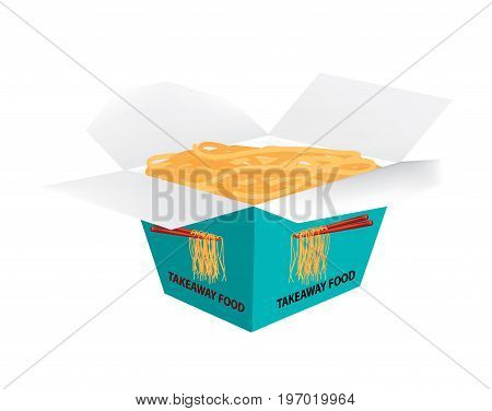 Takeaway box with fried noodle on white background