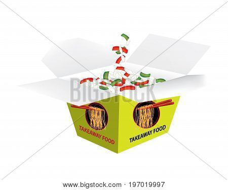 Takeaway box with fried rice on white background