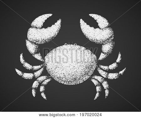 Vector crab. Chalk drawing on blackboard. Eps8. RGB Global color