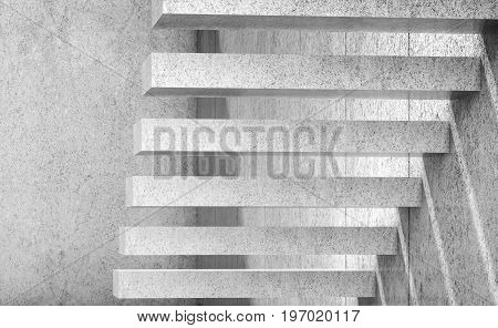 White Empty Concrete Stairs. 3D Render Illustration