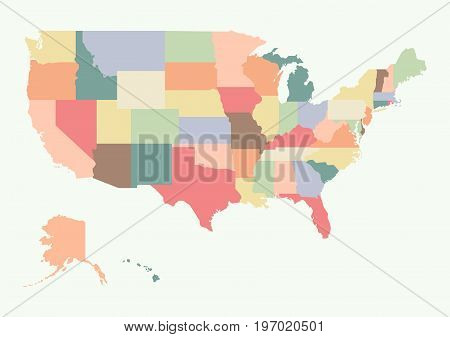 Vintage colorful USA map. Vector illustration design
