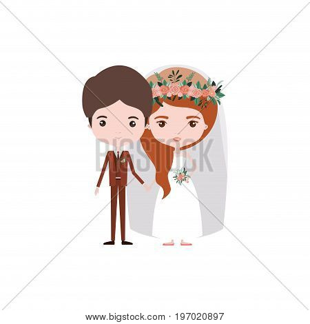 colorful caricature newly married couple groom with formal wear and bride with wavy side long hairstyle vector illustration