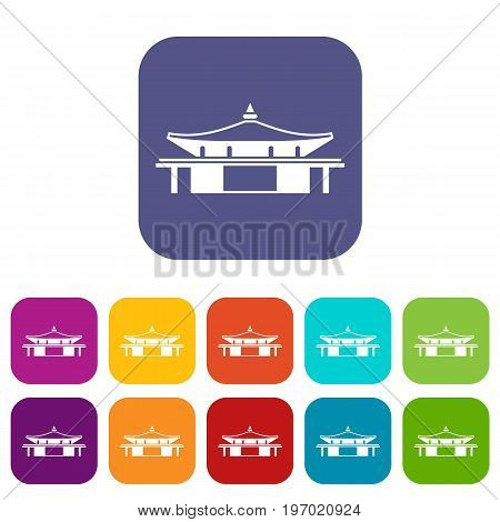 Temple icons set vector illustration in flat style in colors red, blue, green, and other