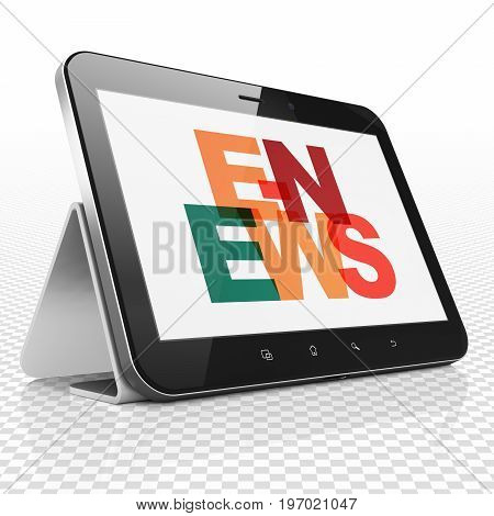 News concept: Tablet Computer with Painted multicolor text E-news on display, 3D rendering
