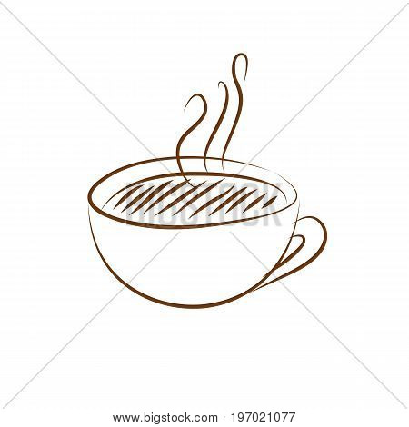 Brown coffee cup icon on white background. Vector illustration.