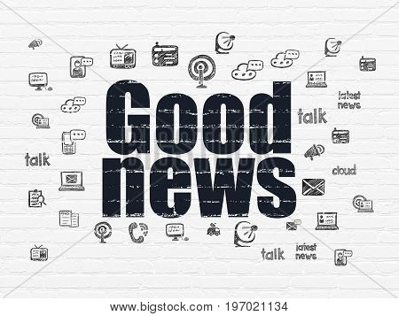 News concept: Painted black text Good News on White Brick wall background with  Hand Drawn News Icons