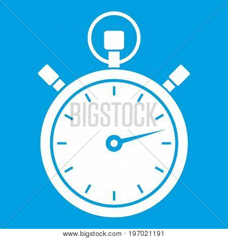 Stopwatch icon white isolated on blue background vector illustration