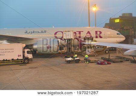 DOHA, QATAR - CIRCA MAY, 2017: Qatar Airways aircraft on tarmac. Qatar Airways is the state-owned flag carrier of Qatar.