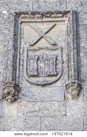 Baeza Cathedral facade detail Jaen in Spain
