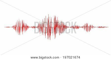 Red sound waves isolated on white background. Vector Illustration